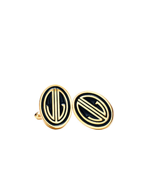 Black Enamel and gold Monogram Cuff Links; Foto: Tiffany